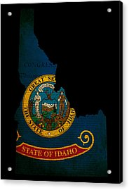 Usa American Idaho State Map Outline With Grunge Effect Flag And Acrylic Print by Matthew Gibson