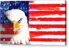 Usa Flag And Eagle Acrylic Print by Brian Raggatt