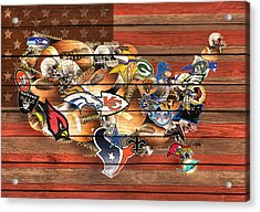 Usa Nfl Map Collage 10 Acrylic Print by MB Art factory