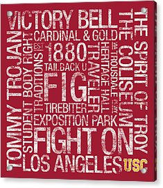 Usc College Colors Subway Art Acrylic Print by Replay Photos