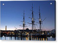 Uss Constitution And Bunker Hill Monument Acrylic Print by Juergen Roth