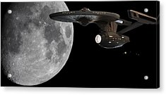 Uss Enterprise With The Moon And Jupiter Acrylic Print by Jason Politte
