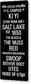 Utah College Town Wall Art Acrylic Print by Replay Photos