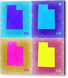 Utah Pop Art Map 2 Acrylic Print by Naxart Studio