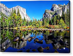 Valley View Reflection Yosemite National Park Acrylic Print by Scott McGuire