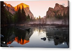 Valley View Winter Sunset Yosemite National Park Acrylic Print by Scott McGuire