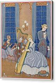 Valmont Seducing His Victim Acrylic Print by Georges Barbier