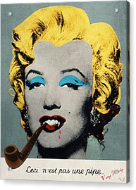 Vampire Marilyn With Surreal Pipe Acrylic Print by Filippo B