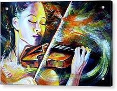 Vanessa-mae.power Of Music Acrylic Print by Anna  Duyunova