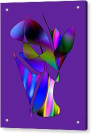 Vase And Flowers In Abstract Designs Acrylic Print by Mario Perez