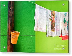 Vase Towels And Green Wall Acrylic Print by Silvia Ganora