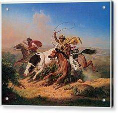 Vasqueros Roping A Steer Acrylic Print by Charles Christian Nahl