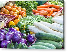 Vegetables Stand In Wet Market Acrylic Print by JPLDesigns