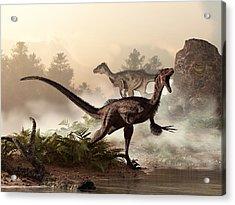 Velociraptors Prowling The Shoreline Acrylic Print by Daniel Eskridge