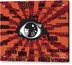 Vendetta Typography Acrylic Print by Sassan Filsoof