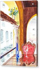 Venetian Cafe Acrylic Print by Irina Sztukowski