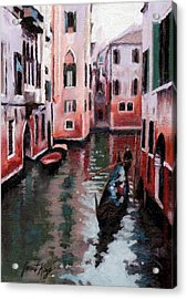 Venice Gondola Ride Acrylic Print by Janet King