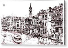 Venice In Pen And Ink Acrylic Print by Adendorff Design