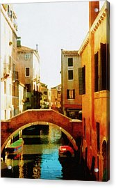Venice Italy Canal With Boats And Laundry Acrylic Print by Michelle Calkins