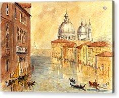 Venice Sunset Acrylic Print by Juan  Bosco
