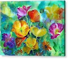 Ventana Poppies Acrylic Print by Summer Celeste