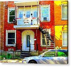 Verdun City Street Triplex Apartment Outdoor Winding Stairs Montreal Scenes Primary Colors C Spandau Acrylic Print by Carole Spandau