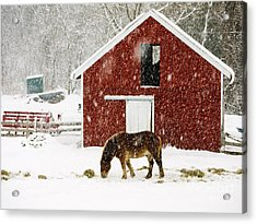 Vermont Christmas Eve Snowstorm Acrylic Print by Edward Fielding