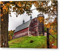 Vermont Country Barn In Autumn Acrylic Print by Joann Vitali