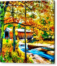 Vermont Covered Bridge Acrylic Print by Bob and Nadine Johnston