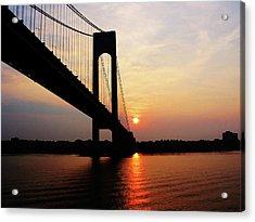 Verrazano Bridge At Dawn Acrylic Print by Susan Savad