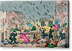 Very Unpleasant Weather Acrylic Print by George Cruikshank