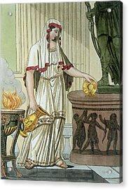 Vestal Virgin, Illustration Acrylic Print by Jacques Grasset de Saint-Sauveur