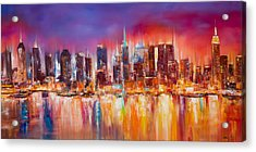 Vibrant New York City Skyline Acrylic Print by Manit