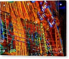 Vibrations Digital Guitar Art Bt Steven Langston Acrylic Print by Steven Lebron Langston