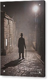 Victorian Man With Top Hat On A Cobbled Street At Night In Fog Acrylic Print by Lee Avison