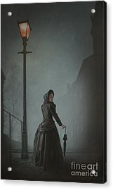 Victorian Woman Under Streetlamp In Fog Acrylic Print by Lee Avison
