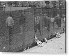 Vietnam Wall Reflections Bw Acrylic Print by Joann Renner