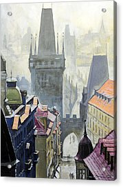 View From The Mostecka Street In The Direction Of Charles Bridge Acrylic Print by Yuriy Shevchuk