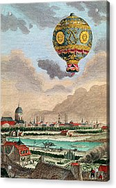 View From The Terrace Of Monsieur Franklin At Passy Of The First Flight Under The Direction Acrylic Print by French School