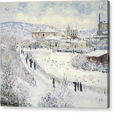 View Of Argenteuil Snow Acrylic Print by Claude Monet