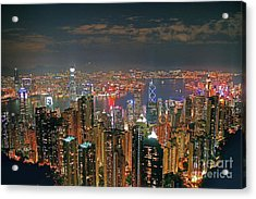 View Of Hong Kong From The Peak Acrylic Print by Lars Ruecker