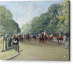 View Of Hyde Park With Figures On Rotten Row  Acrylic Print by Albert Jnr Ludovici