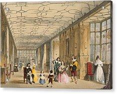 View Of Long Hall At Haddon Acrylic Print by Joseph Nash