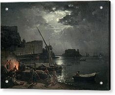 View Of Naples In Moonlight Acrylic Print by Silvestr Fedosievich Shchedrin
