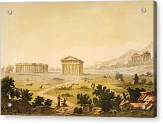 View Of Temples In Paestum At Syracuse Acrylic Print by Giulio Ferrario
