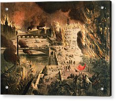 View Of The Fires In Paris During The Commune On The 24th And 25th Of May, 1871 Colour Litho Acrylic Print by French School