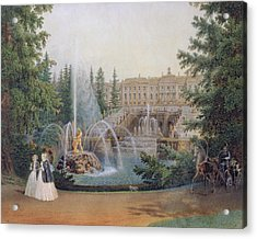 View Of The Marly Cascade From The Lower Garden Of The Peterhof Palace Acrylic Print by Vasili Semenovich Sadovnikov