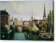 View Of The Riddarholmskanalen Acrylic Print by Gustav Palm