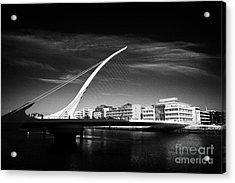 View Of The Samuel Beckett Bridge Over The River Liffey Dublin Republic Of Ireland Acrylic Print by Joe Fox