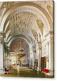 View Of The White Hall In The Winter Palace In St. Petersburg, 1865 Wc On Paper Acrylic Print by Luigi Premazzi